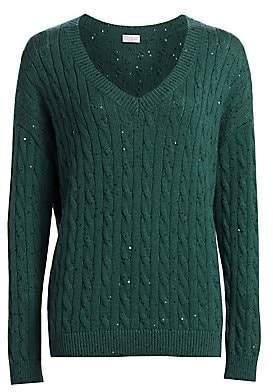 Brunello Cucinelli Women's Cashmere & Silk Paillette Cable Knit Sweater