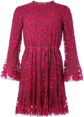 Needle & Thread Demetria Floral-Embroidered Tulle Mini Dress
