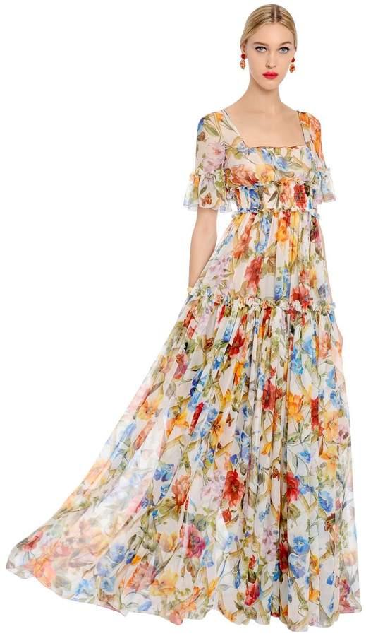 Dolce & Gabbana Bamboo Floral Printed Silk Chiffon Dress