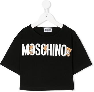 MOSCHINO BAMBINO logo print crop T-shirt