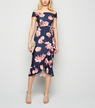 New Look Floral Spot Bardot Ruffle Midi Dress