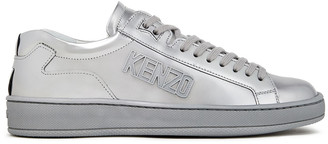 Kenzo Tennix Logo-appliqued Metallic Leather Sneakers