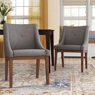 Three Posts Irving Place Linen Upholstery Dining Chair Upholstery Color: Gray