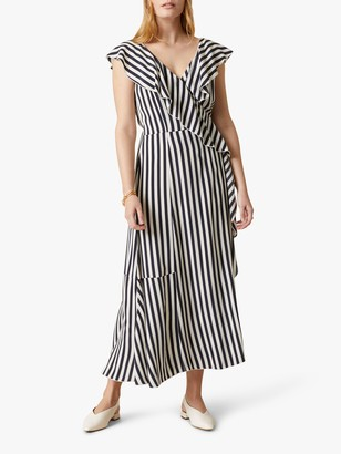 Jigsaw Sailor Stripe Maxi Ruffle Dress, French Navy