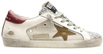 Golden Goose Superstar Sneaker in Silver/White/Tobacco/Red