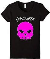 Women's Emoji Halloween Shirt for Women & Teen Girls: Pink Skull Tee Large