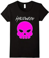 Women's Emoji Halloween Shirt for Women & Teen Girls: Pink Skull Tee Medium