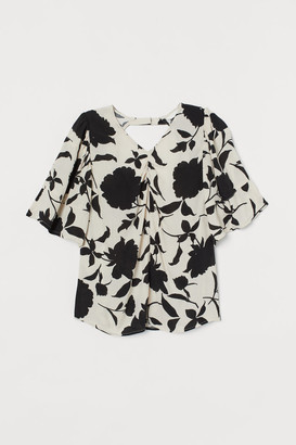 H&M Puff-sleeved Blouse - Beige