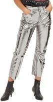 Topshop Women's Dree Metallic Crop Flare Jeans