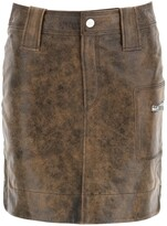 Thumbnail for your product : Ganni High-Waisted Washed Leather Mini Skirt