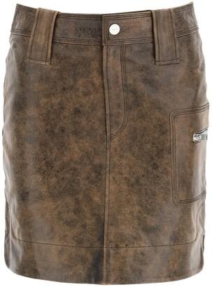 Ganni High-Waisted Washed Leather Mini Skirt