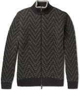 Etro - Chevron-knit Wool Zip-up Sweater