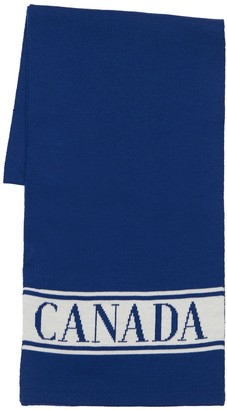 Canada Goose Logo Jacquard Wool Scarf