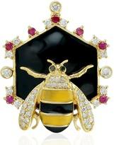 Artisan 18Kt Yellow Gold Diamond Honey Bee Pendant Ruby Gemstone Enamel Jewelry