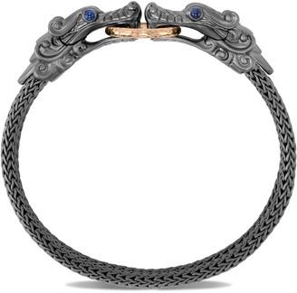 John Hardy 'Legends Naga' sapphire double dragon head 18k gold black rhodium chain bracelet