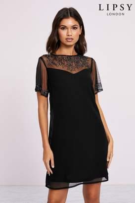 Lipsy Embellished Shift Dress - 8 - Black
