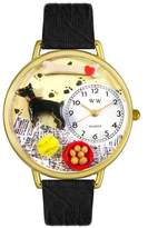 Whimsical Watches Doberman Pinscher Black Skin Leather and Goldtone Unisex Quartz Watch with White Dial Analogue Display and Multicolour Leather Strap G-0130035