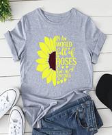Basico Women's Tee Shirts Light - Light Gray 'In a World Full of Roses' Sunflower Tee - Women & Plus