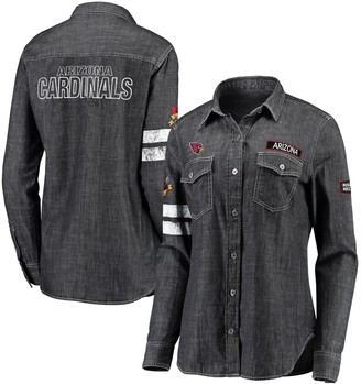 Unbranded Women's WEAR By Erin Andrews Heather Black Arizona Cardinals Long Sleeve Button-Up Denim Shirt