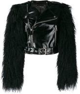 Manokhi fur sleeved biker jacket