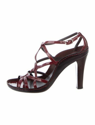 Celine Patent Leather Sandals Red