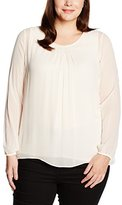 Via Appia Women's BLUSE RUNDHALS LANGARM TWO IN ONE Loose Fit Long Sleeve Blouse - off-white - 0-3 Months