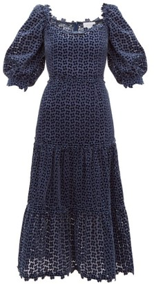 Luisa Beccaria Embroidered Broderie-anglaise Velvet Dress - Navy