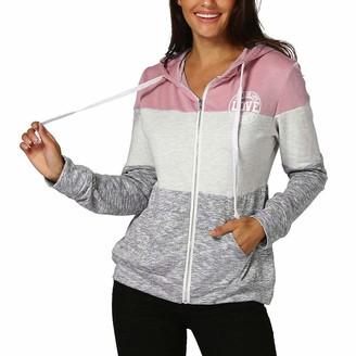 Toamen Women's Top Toamen Womens Hoodies Sweatshirt Jumper Pullover Sale Clearance Basic Long Sleeve Letter Print Pocket Zip Up Hooded Slim Tops Blouse Jacket Coat (Pink 16)