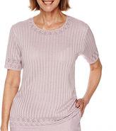 Alfred Dunner Lavender Fields Short-Sleeve Sweater Shell - Petite