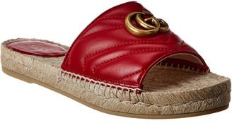 Gucci Gg Leather Espadrille Sandal