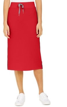 Tommy Hilfiger Side-Stripe Midi Skirt