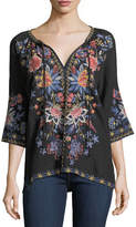 Johnny Was Tivva Embroidered Linen Peasant Top