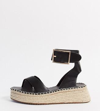Glamorous Wide Fit espadrille platform sandal in black