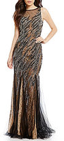 Glamour by Terani Couture Beaded Illusion Overlay Lace Long Dress