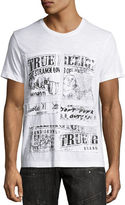 True Religion Newsprint Logo Patchwork T-Shirt