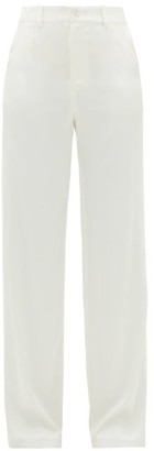 ALBUS LUMEN High-rise Silk-charmeuse Trousers - White