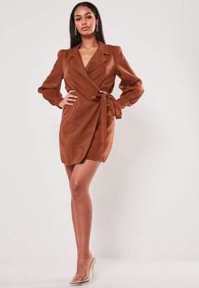 Missguided Rust Organza Wrap Shirt Dress