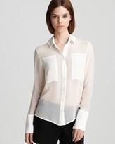 Luxe Blouse - Silk Chiffon Block Button Front