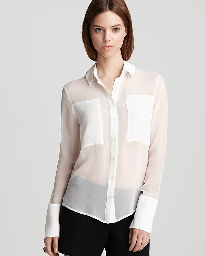 Aqua Luxe Blouse - Silk Chiffon Block Button Front