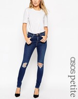 Asos Ridley Skinny Jeans In Brasswood Dark Stone Wash Blue With Rips