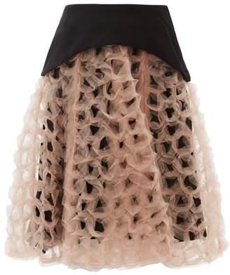 Noir Kei Ninomiya Organza Overlay Full Crepe Skirt - Womens - Nude