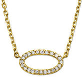 Lord & Taylor 14Kt. Yellow Gold and Diamond Oval Pendant Necklace