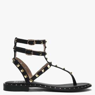 Df By Daniel Cube Black Square Studded Gladiator Sandals