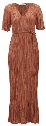 Mes Demoiselles Twinkie Crinkled Silk-satin Maxi Dress - Brown