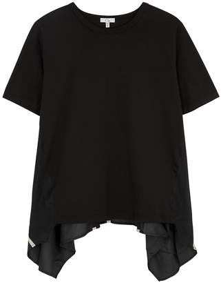 Clu Black Satin-panelled Cotton T-shirt