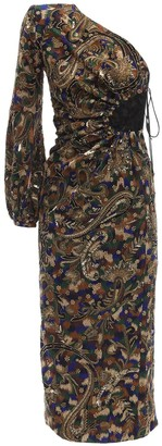 Saint Laurent Embroidered One Shoulder Midi Dress