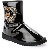 Love Moschino Black Studded-Heart Faux Sheepskin Boots