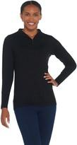Susan Graver Rayon Nylon 3/4 Zip-Front Long Sleeve Sweater