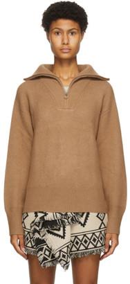 Etoile Isabel Marant Beige Wool Fancy Half-Zip Sweater