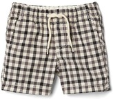 Gingham pull-on shorts